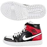 Nike Wmns Air Jordan 1 Mid, Zapatilla de Correr Mujer, Black White Noble Red, 44 EU