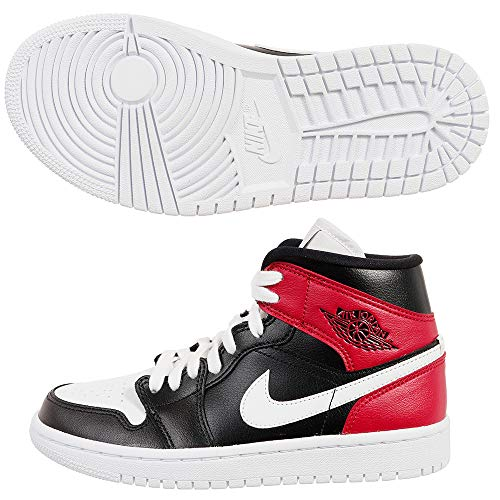 Nike Wmns Air Jordan 1 Mid, Scarpe da Basket Donna, Black/White/Noble Red, 40 EU