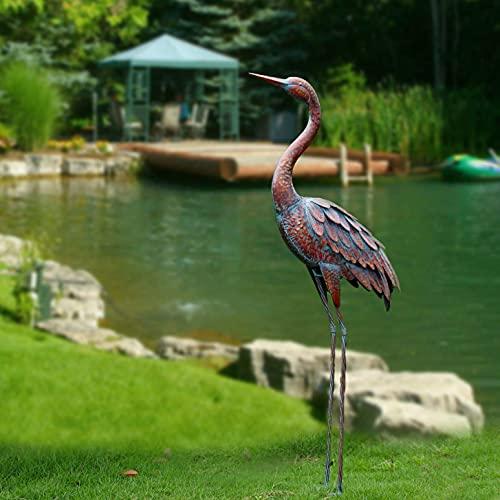 Outdoor Garden Statue Metal Crane Yard Art Decor Heron Statue Bird Sculpture