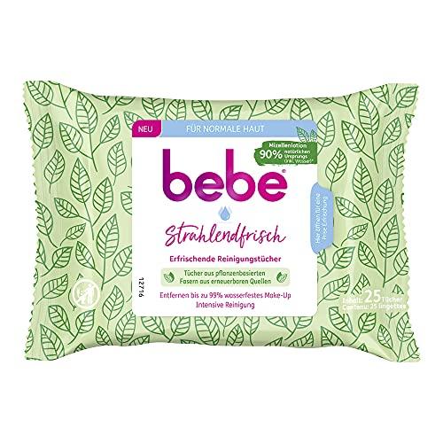 bebe Lingettes nettoyantes rafraîchissantes et rafraîchissantes, nettoyantes intensives, en fibres végétales renouvelables pour peaux normales (1 x 25 lingettes)