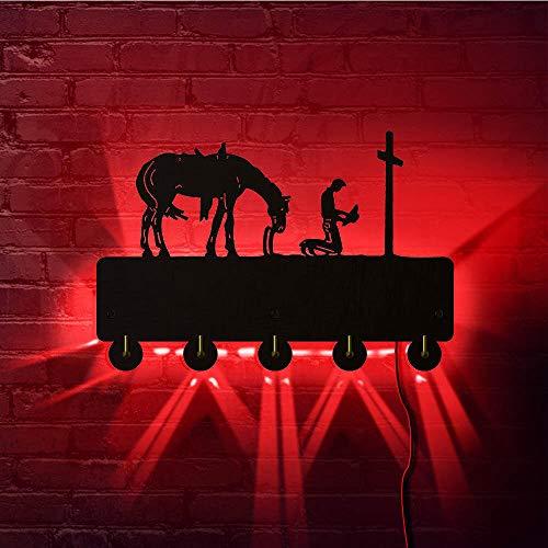 QERTYU Vaquero rezando LED gancho de luz de pared viajero arrodillado en la cruz con retrato de caballo llaves perchero perchero toalla