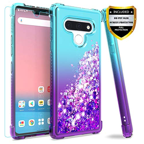 M MAIKEZI LG Stylo 6 Case,with HD Screen Protector for Girls Women, Gradient Quicksand Glitter Bling Flowing Liquid Floating TPU Bumper Cushion Protective Cute Case for LG Stylo 6(Teal Purple)
