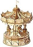 BUSUANZI Decoración del Carrusel 3D Rompecabezas Hecho A Mano Madera Color Decoración del Hogar