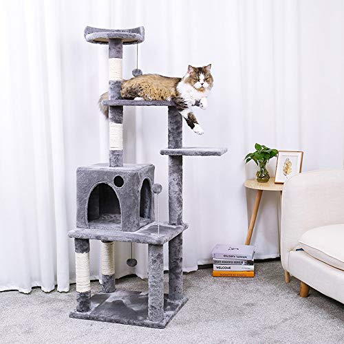 """Ohana 54.7"""" Cat Tree,Kitty Toy Cat Scratching Post Natural Sisals Kitten Activity Tower Condo Stand Luxury Furniture Grey"""