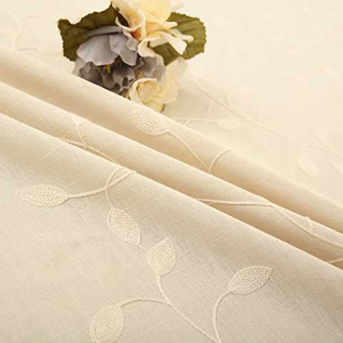 "Tina Cotton Linen Leaf Embroidered 20x20"" Cloth Napkin Set of 6 for Dinner Everyday Use, Beige"