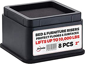 "iPrimio Bed and Furniture Risers – 8 Pack Square Elevator up to 2"" Per Riser and Lifts up to 10,000 LBs - Protect Floors and Surfaces – Durable ABS Plastic and Anti Slip Foam Grip – Stackable – Black"