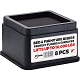 """iPrimio Bed and Furniture Risers – 8 Pack Square Elevator up to 2"""" Per Riser and Lifts up to 10,000 LBs - Protect Floors and Surfaces – Durable ABS Plastic and Anti Slip Foam Grip – Stackable – Black"""
