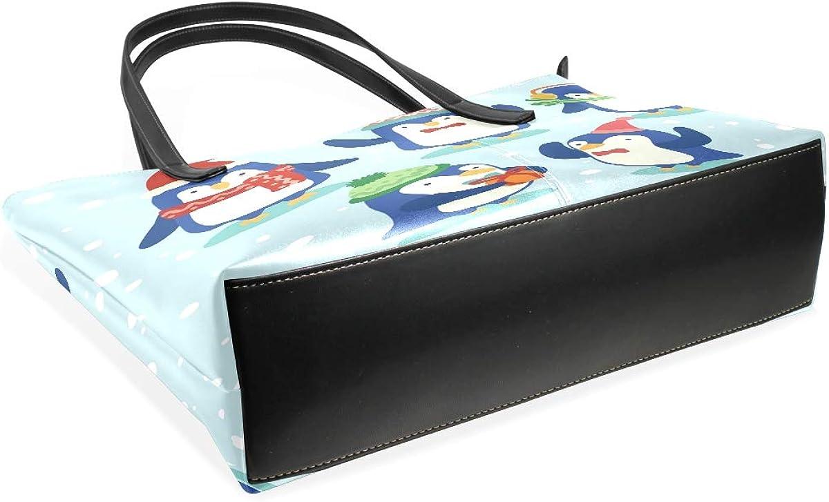 Women Leather Handbags Funny Penguine Top Handle Shoulder Bags