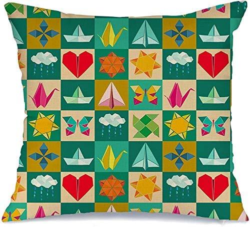 Funda de cojín Throw Cojín Caso Funda de Almohada Nube ilustraciones plegadas barco moderno avión figuras de juguete vista dibujo color origami pintura retro 45 X 45 CM