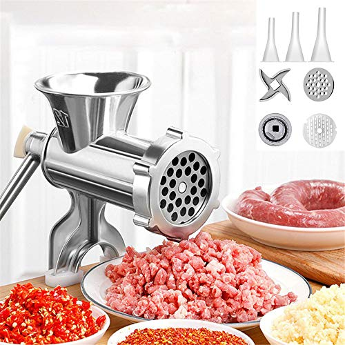 YIYU Manual Meat Grinder Hand Operated Aluminum Alloy Food Processor Multifunction Meat Grain Grinder Sausages Maker Wheat Grinder Kitchen Tools with Tabletop Clamp(M, Silver)