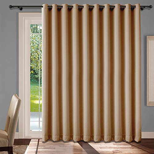 cololeaf Extra Wide Patio Door Curtains Thermal Insulated Blackout Patio Curtains Sliding Door Insulated Drape Soundproof Room Divider Curtains Grommet Top - Wheat 120W x 84L Inch (1 Panel)