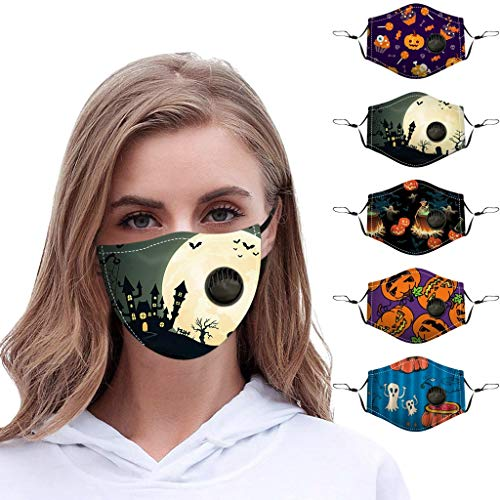 5PCS Holiday Before Christmas Adult Protect Face Bandanas Dustproof with Breather Valve Reusable Face Bandanas
