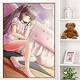 PLjVU Escuela de útiles Escolares Halloween-Anime japonés Vainilla Lindo Cosplay Pintura Impresa en Lienzo Cuadros para habitación de niños decoración del hogar-Sin marco60X90cm