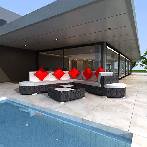 Conjunto Muebles de Jardín 27 Piezas con Mesa de Centro,Sofa Exterior para Jardín Balcón Patio Piscina Terraza,Cojines Extraíbles,Poli Ratán Negro(Combinable de Diferentes Formas)