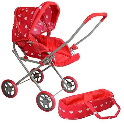 Heart-Printed Baby Doll Bassinet/Stroller with Travel Bag