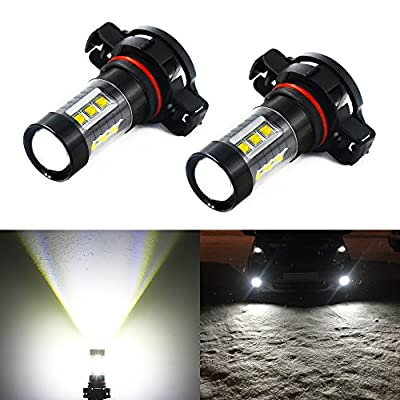 Phinlion Super Bright 1600LM 5201 5202 LED Fog Light Bulbs 80W High Power Cree LED 5202 Bulb PS19W 12085 5202 Fog Lights Lamp Replacement, 6000K Xenon White