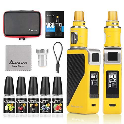 Salcar V60 E Zigarette/E Shisha Starterset und 5x10ml E liquid    V60 Mod Kit mit 2200mah Akku + 2.0ml Top Refill Verdampfer + 0.5 Ohm Verdampferköpfe, 0,0mg Nikotin (Gelb)