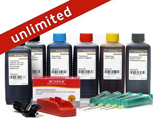 Complete set met chipreset voor Canon PGI-570, CLI-571 cartridges met 6 x inktinkt voor Pixma MG 7700, TS 8000, TS 9000 printers, inktet: navulinkt, onbegrensde resets (Non OEM) 6 x 100 ml multicolor
