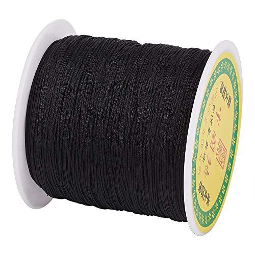 Cheriswelry - Cuerda de nailon trenzado para hacer pulseras de macramé negro