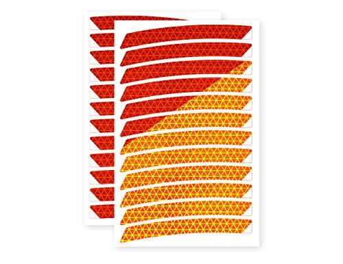 reflexsticker in Neon-Edition für Fahrradfelgen | gelb oder orange | 24 Streifen im Set | 26 bis 29 Zoll Felgen | Reflektoren-Aufkleber fürs Fahrrad, Mountainbike, Hollandrad (27,5ʺ/28ʺ/29ʺ, orange)