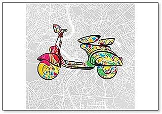 Italian Vintage Scooter On Map Of Rome Illustration - Classic Fridge Magnet