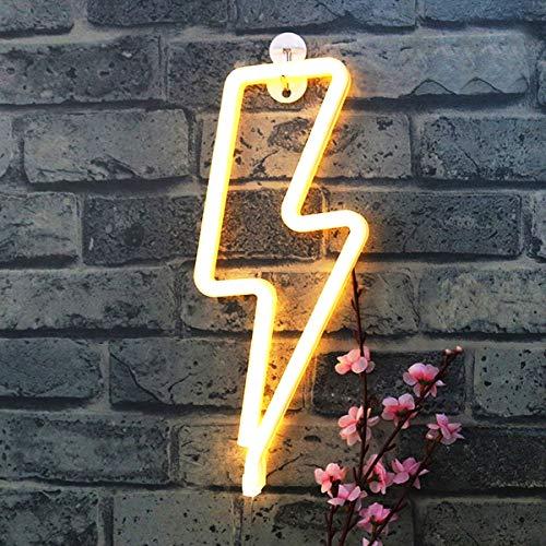 XIYUNTE relámpago Luz de neón Letrero de neón Señales de luz de relámpago Blanco Decoración de pared Batería y USB alimentado Lámparas para la habitación de los niños, Navidad