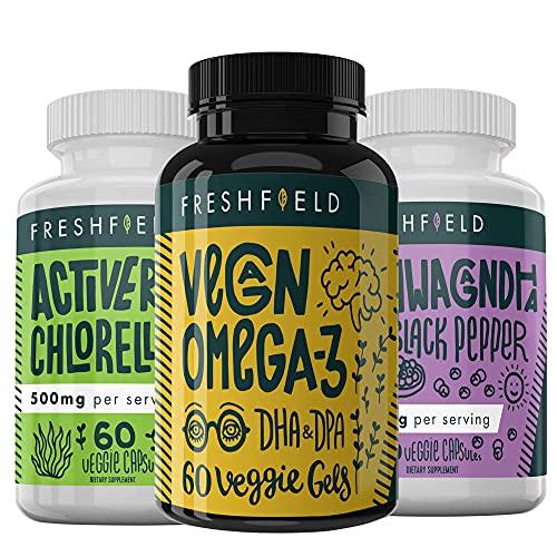 Vegan Omega 3, Vegan Chlorella and Vegan Ashwagandha
