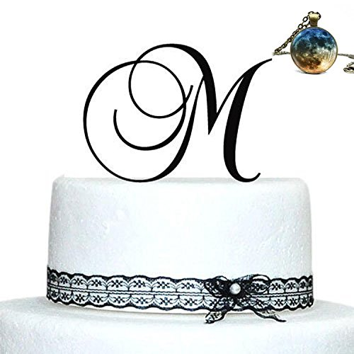 Price comparison product image Buythrow Personalized Acrylic Wedding Initial Cake Topper in any letter A B C D E F G H I J K L M N O P Q R S T U V W X Y Z Silver