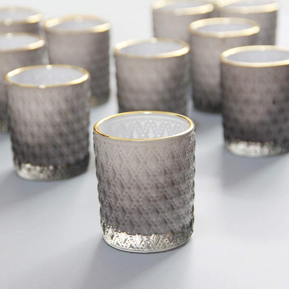 SHMILMH Black Votive Now on sale Candle Holder Max 72% OFF Set Grey Tealight 24 Cand of