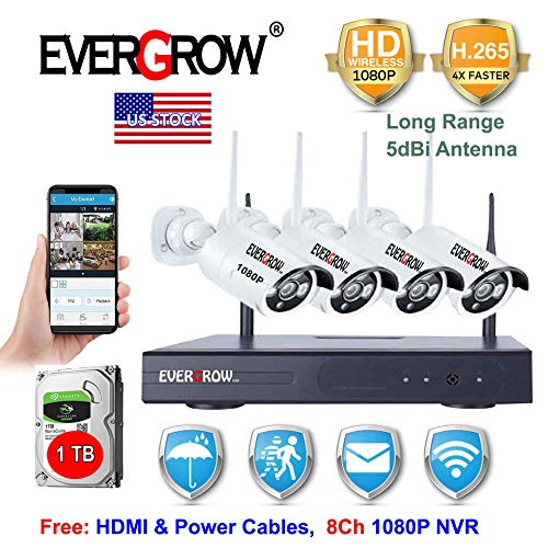 [2020 Newest Long Range] EVERGROW H265+ Wireless Home Security Cameras System,8 Channel Network IP NVR, 1TB Hard Drive,4 HD 2.0MP 1080P Wireless Weatherproof Indoor Outdoor CAM-WIFI-4CH-2MP-168