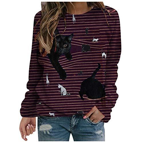WOBANG Damen Langarm T-Shirts mit V-Ausschnitt Reißverschluss Revers Bedruckte Klassische Blusen Sexy Oberteil Damen Elegant Langarmshirt Bluse Damen Herbst Choker T-Shirt Tops