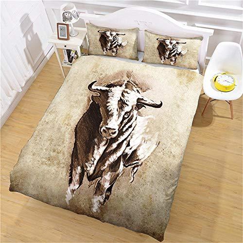 aakkjjzz Double Duvet Cover Sets 3 Pcs Easy Care Luxurious Bedding Set Microfiber for Kids Boys Girl Cattle Quilt Duvet Cover 200X200cm and 2 Pieces Pillowcases 50X75cm for Double Bed