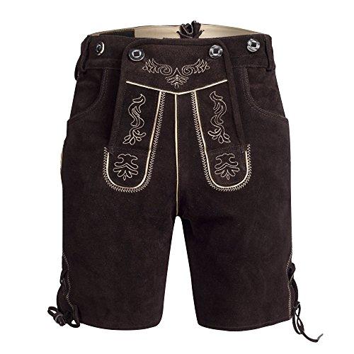Herren Trachten Lederhose Bundhose kurz mit Trägern aus Rindveloursleder in Dunkelbraun Gr. 50
