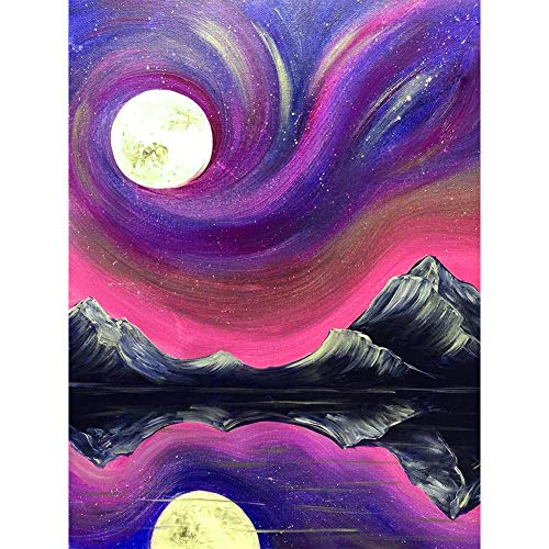 YEESAM ART - Perforación completa de pintura de diamantes en 5D, cielo púrpura, paisaje de luna, lago, 30 x 40 cm, kit de bordado de manualidades (morado)