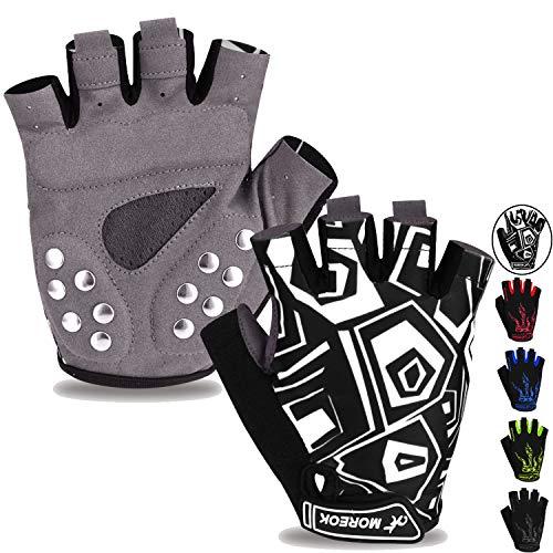 MOREOK Mens Cycling Gloves,Half Finger Biking Glove MTB DH Road Bicycle Gloves Gel Pad Shock-Absorbing Anti-Slip Breathable Motorcycle Mountain Bike Gloves Unisex Women MK0501-Black L