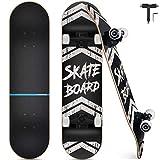 Skateboard Completo, Funxim Tabla de Skateboard 31 x 8 Pulgadas 4 Ruedas 7 Capas Madera de...