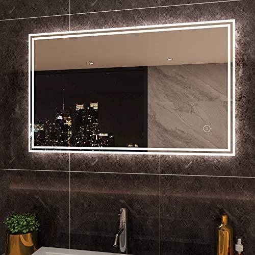 SIRHONA Miroir Lumineux LED 100x60cm Anti-buée Miroir Salle Bain Mural Cosmétiques Mural Lumière Illumination