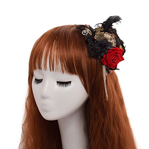 BLEBLESSUME Victorian Steampunk women Mini Top Hat Hair Clip (D) steampunk buy now online