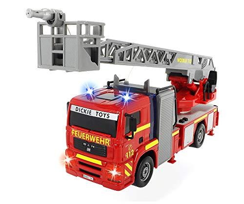 Dickie 203715001 Toys City Fire Engine, Feuerwehrauto mit manueller Wasserspritze, Feuerwehr, Einsatzfahrzeug, Licht & Sound, 31 cm, ab 3 Jahren