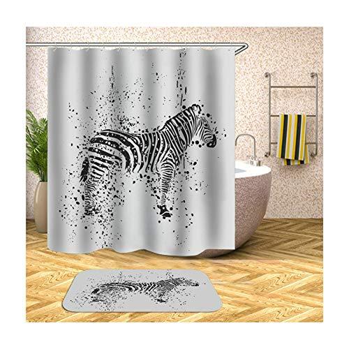 MaxAst Badezimmer Matte Set Bunt Zebra Duschvorhang Anti Schimmel Badezimmerteppich Polyester Badewanne Vorhang 180x180CM