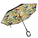 children inverted umbrella funny animals hippo giraffe koala parrot crocodile zoo jungle kids