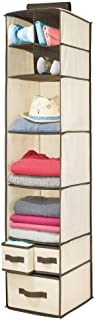 mDesign Soft Fabric Over Closet Rod Hanging Storage Organizer with 7 Shelves and 3 Removable Drawers for Clothes, Leggings...
