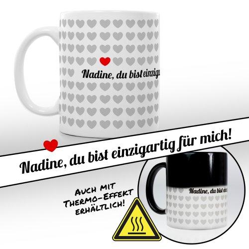 Tassenwerk – Magische Tasse mit Thermoeffekt – Kaffeetasse mit Farbwechsel – Motiv 1000 Herzen – Personalisiert mit Namen – Geschenkidee Frauen und Männer