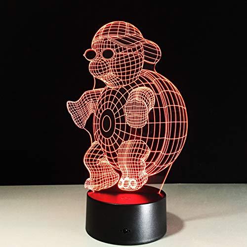 KangYD Tortuga con gafas de sol Luz nocturna 3D, lámpara de ilusión óptica LED, F - Base de audio Bluetooth (5 colores), Niño Lámpara, Regalo de Navidad, Regalo para amigo