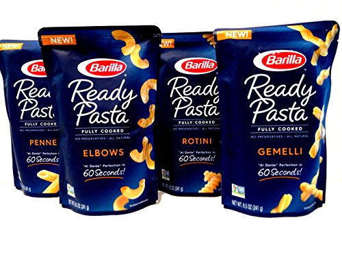 Barilla Fully Cooked Ready Pasta, Variety 4 Pack: 1 Pouch each of Rotini, Penne, Elbows, Gemelli (8.5 Ounces each Pouch)