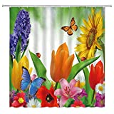 WZFashion Colorful Flower Shower Curtain Purple Hyacinth Yellow Sunflower Red Tulip Pink Lily Daisy Butterfly Spring Floral Plant Garden Nature Scenery Decor Fabric Bathroom Curtain Set with Hooks