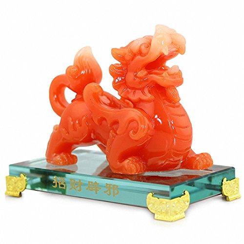 BOYULL Feng Shui Red Pi Yao/Pi Xiu Wealth Porsperity Statue,Feng Shui Décor