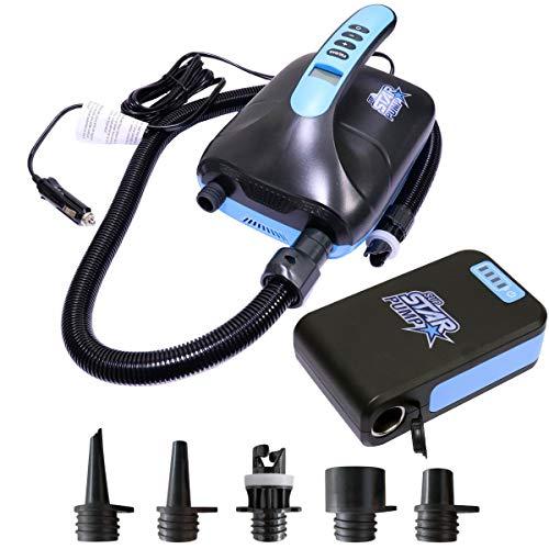 SkinStar Elektrische SUP-Pumpe mit 5 Adapter für Stand Up Paddle Board Schlauchboot Luftmatratze mit Akku Powerbank
