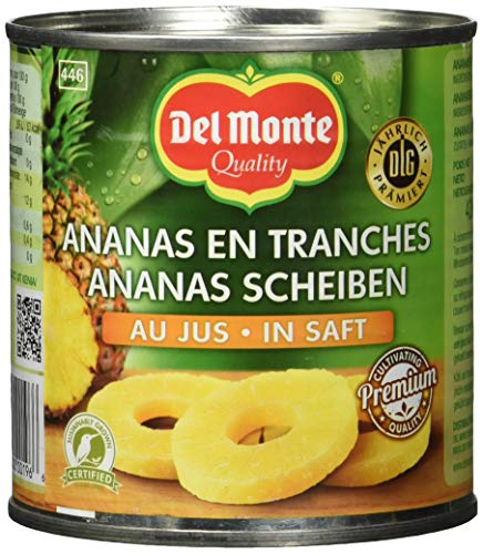 Del Monte Ananasscheiben in Saft, 12er Pack (12 x 446 ml Dose)