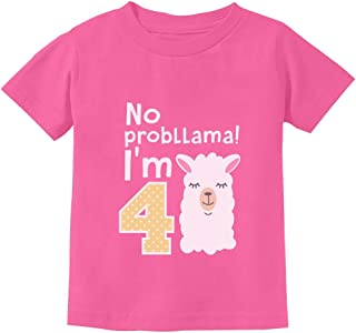 Gift for 4 Year Old Girl No Probllama 4th Birthday Toddler Kids T-Shirt